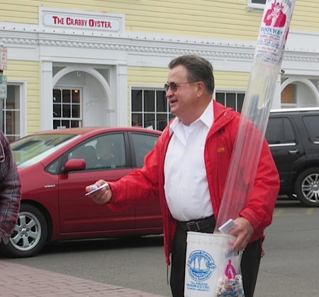 Seaside's famous Candy Man (handing out samples from the Candy Man store)