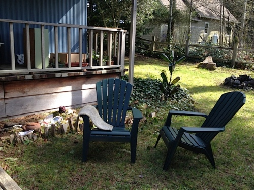 porch, chairs, bottle tree, fire circle
