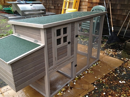 a chicken coop from a kit; soon to be occupied
