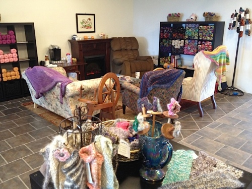 a cosy place for knitting and crocheting