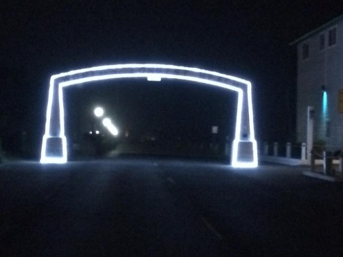 Long Beach arch at night