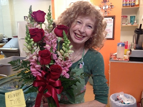 Luanne with a bouquet sent by her daughter back east
