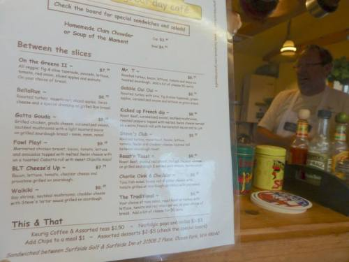the menu and Chef Steve