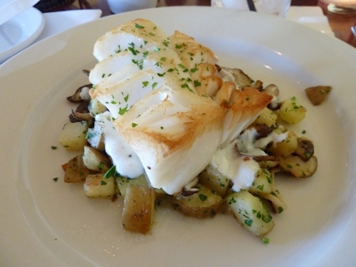 cod, potatoes, lemon garlic cream