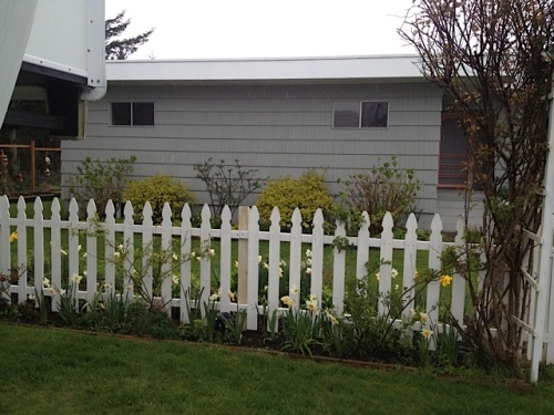 picket garden; you can see the overhang of one of the staff fifth-wheels.