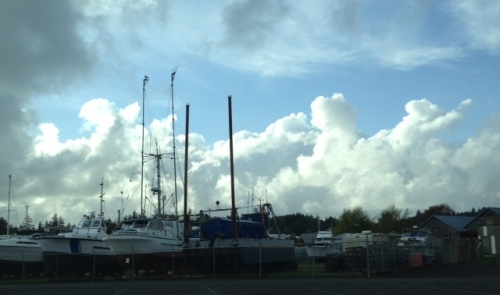 clouds over the boat storage yard, Port of Ilwaco
