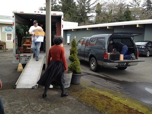 unloading at Jenna's new shop on Spruce Street.