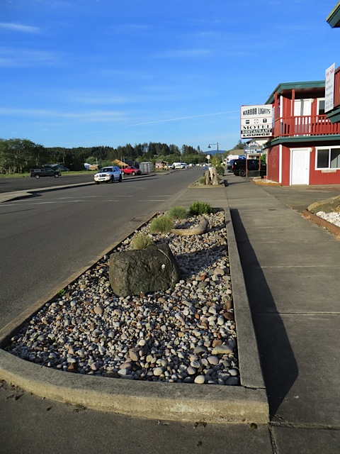 Allan weeded the plain river rock bed in front of the old Harbour Lights Motel.