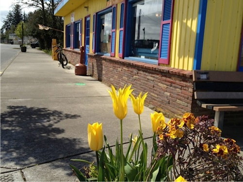 I go for a yellow theme in the four planters on the intersection by Don's Portside Café.