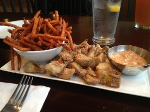 the fried artichoke appetizer with a creole dipping sauce