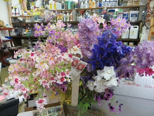Here's the other side of the bouquet that I saw last time I shopped here.  Wish I could grow delphiniums (on the right) that well.