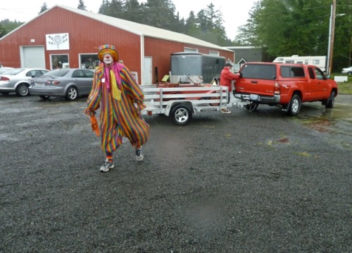 a brave clown was ready to parade...