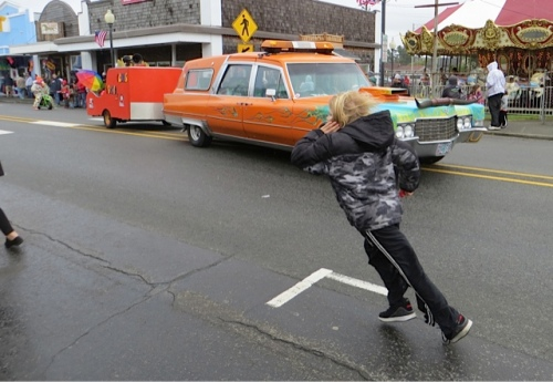The Astoria clowns, rained out of Saturday's parade, returned for this one.