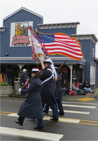 We love our Coast Guard.  The flags were whipping around into their faces.