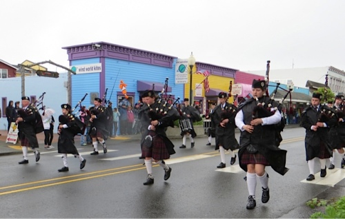 Pipers in the rain