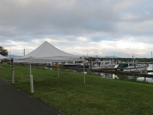 by the Port office, one of the Saturday market tents.