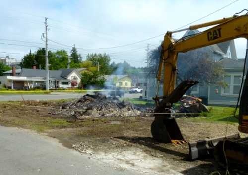 Allan checked out the progress on the controlled burn house a block away that had caused so much smoke on Saturday.