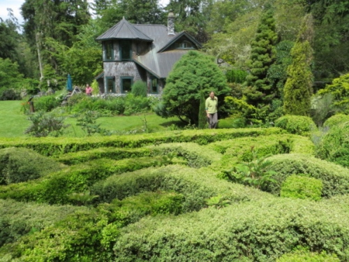 To our right, a knot garden
