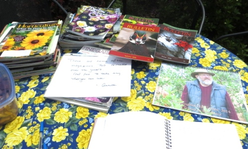 a table with magazines, free for the taking, from Bob Barca's collection.  (I was reeling from the pleasures of this garden so did not even think to take any!)