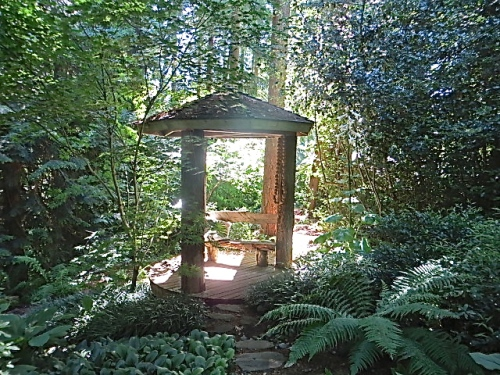 a small gazebo overlooking the ravine