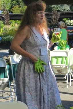 an ensemble with green garden gloves