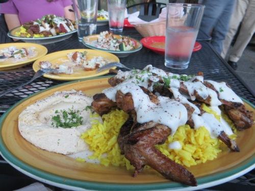 I got Farmer's Dish as it brought back happy memories of reeking with garlic.  Sheila and Allan got Dajaj Mishwi.