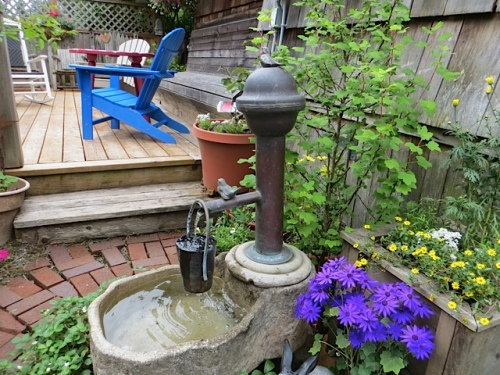 Jo and Bob have their water feature set up for the summer; now it feels like home.