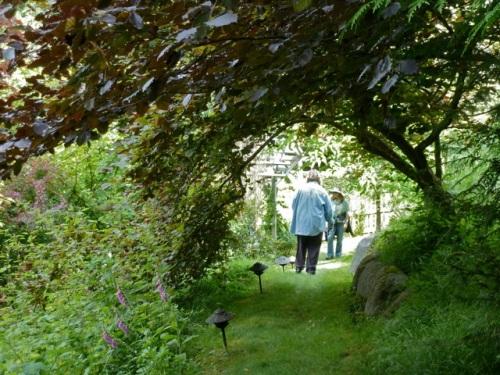 Sheila and I descending toward the gardens.