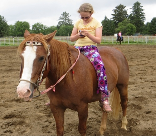 Riding bareback in pajamas!