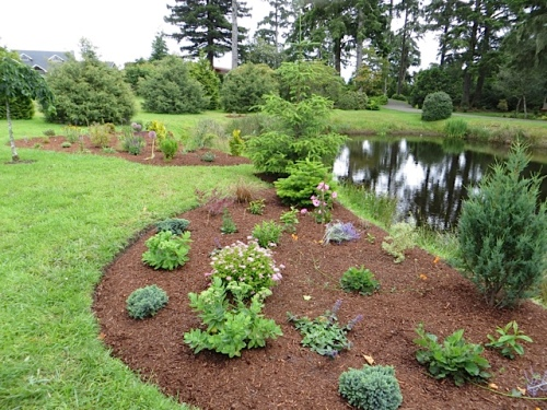 The beds by the pond have been finished since our last visit.