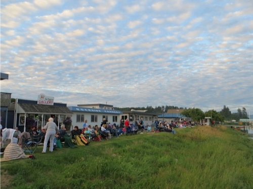 Audience lined up for the fireworks display.  No personal fireworks are allowed at this event.