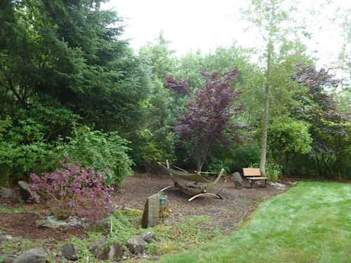 ..and the pond has landscaping and seating all around.