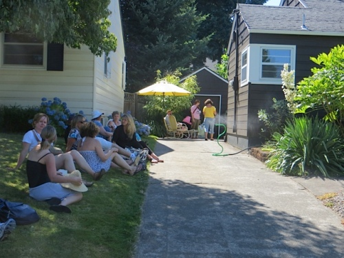 bloggers similarly collapsed on the neighbours' shady lawn