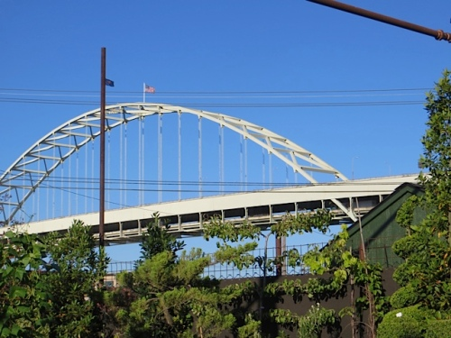 Fremont Bridge (one of Portland's 11? bridges over the Willamette River that divides the city).