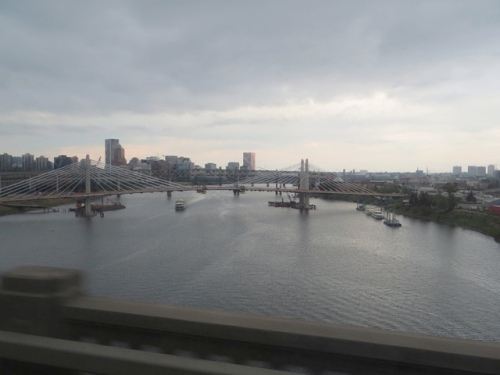 crossing one of Portland's many bridges.