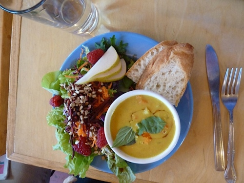 Pam's delicious looking brunch (some sort of curry soup); I simply had a chocolate croissant.