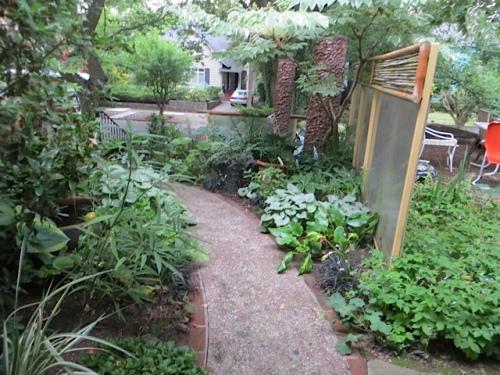 around the corner into the front garden