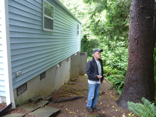 Ed admiring a tree on the property; you can see the rather tricky terrain, and storage underneath the house.