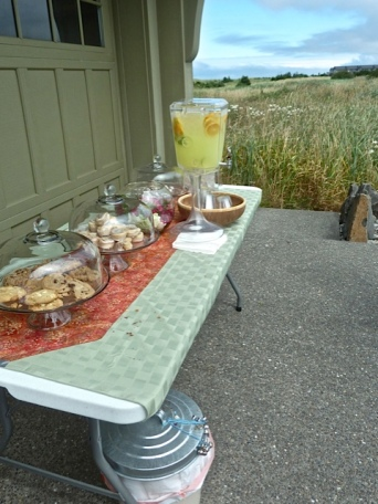 and had a refreshment table set up outside.