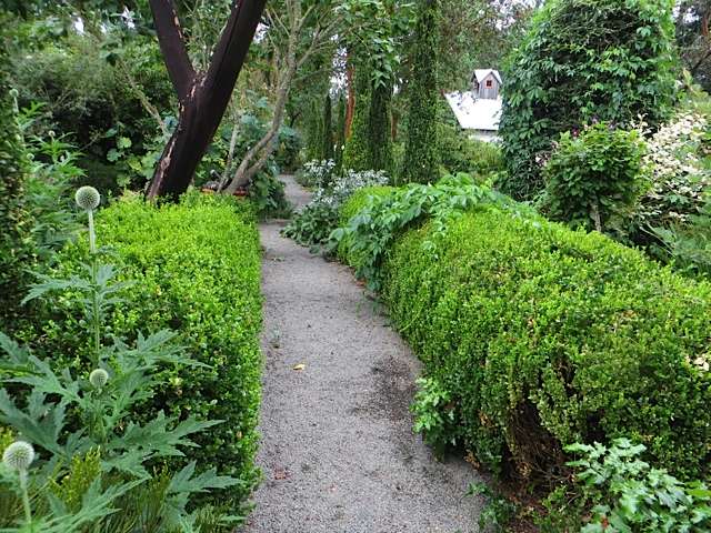 The paths become more formal nearer the lawn.