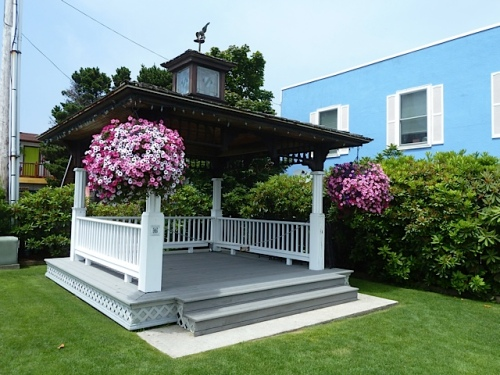 The Long Beach gazebo with baskets by Nancy of the Basket Case Greenhouse