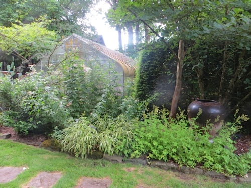 the greenhouse near the house