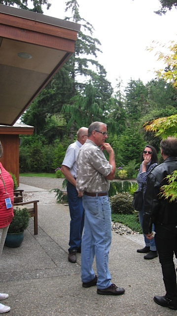 photo by Pam Fleming:  Steve and John with garden guests
