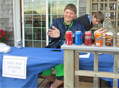 Her son Joe had set up an entrepreneurial display on the deck.
