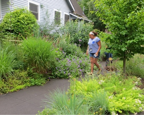 Leslie from California explores the sidewalk gardens.