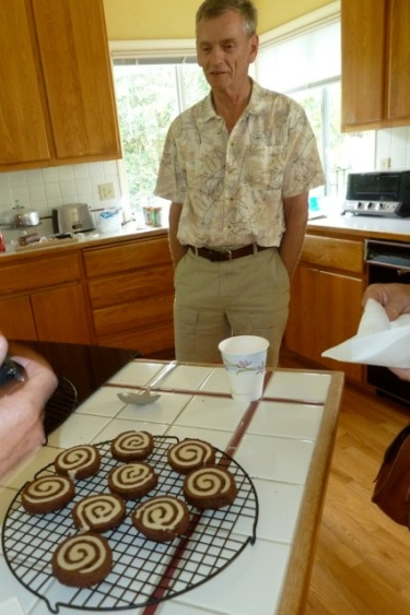 Back in the house; one of our hosts make cookies; he is famous for always making cookies for garden tours.