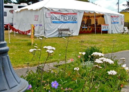 Allan's photo: tents selling fireworks promised much noise and chaos on the weekend