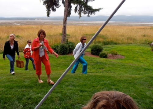 Allan's photo of tour guests who arrived from across the bayside lawn