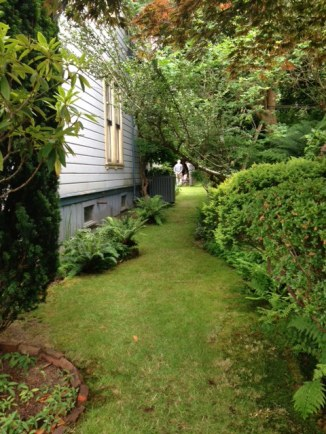 lush pathway on right side of house