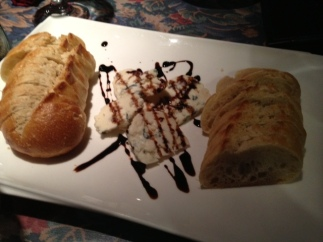 We sat at the chef's table with a special treat of bleu cheese and crusty bread.